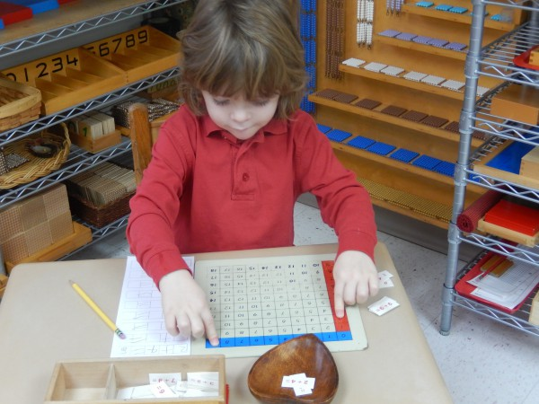 Working with math equipment in the Primary